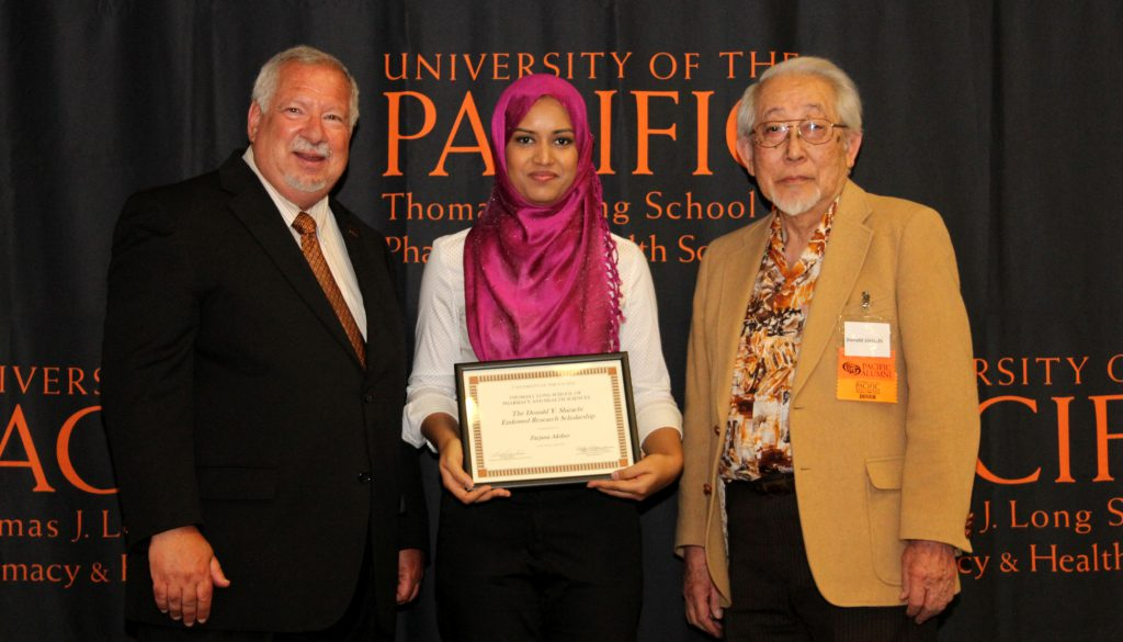 From left to right: Dean Oppenheimer, Farjana Akther and Donald Shirachi, PhD at the Pharmacy Scholarship Ceremony.